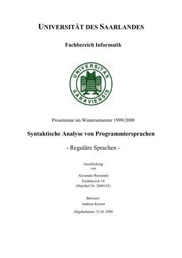 Reguläre Sprachen - Universität des Saarlandes