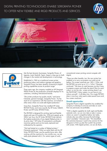 digital printing technologies enable serigrafia pioner - HP