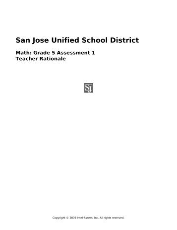 San Jose Unified School District Math: Grade 5 Assessment 1 ...