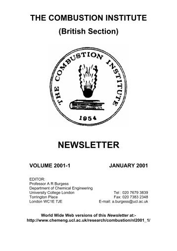 Newsletter 2001-1 - Combustion Institute British Section