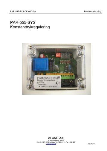 PAR-555-SYS Konstanttrykregulering - Øland Online