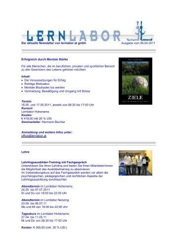 Der aktuelle Newsletter von lernlabor.at gmbh Ausgabe vom 06.04 ...