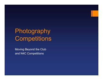 Moving Beyond the Club ? Competitions, Galleries and Art Shows