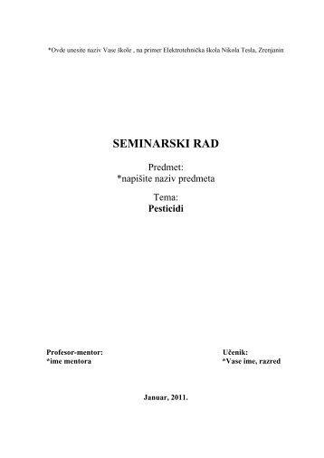 Pesticidi- ij - Seminarski Maturski Diplomski Radovi