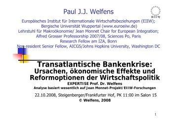 Transatlantische Bankenkrise: Ursachen, ökonomische ... - EIIW