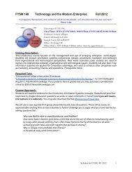 FYSM 148 Technology and the Modern Enterprise Fall 2012