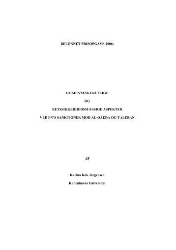 Bedste besvarelse af prisopgaven for 2006 - Justitsministeriet