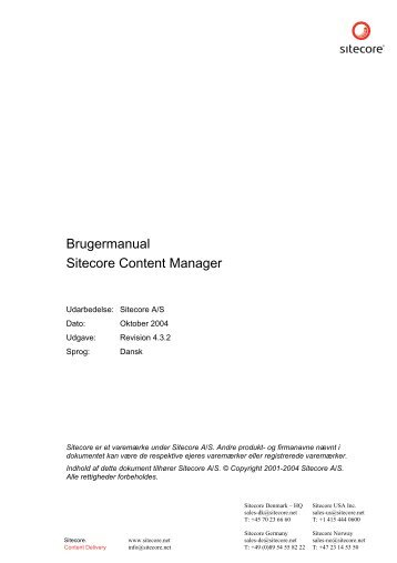 Brugermanual Sitecore Content Manager - Sitecore Developer ...