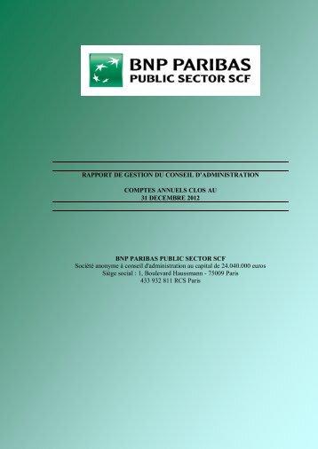rapport du conseil d'administration à l'assemblée ... - BNP Paribas