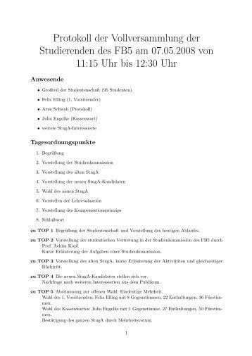 Protokoll der Vollversammlung der Studierenden des FB5 am 07.05 ...