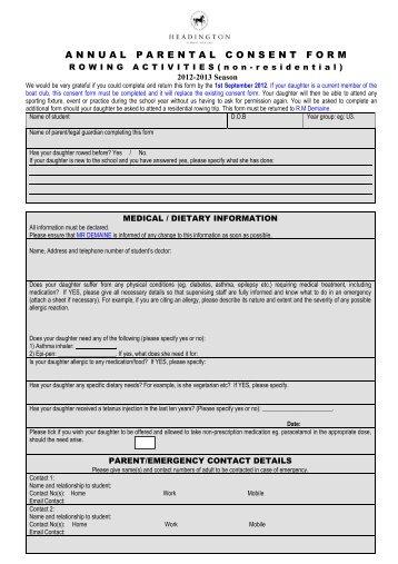 Parental Consent Forms For 2012 - Headington School Oxford Boat Club