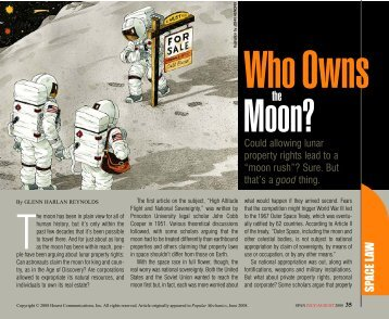 Who Owns the Moon?, SPAN July/August 2008