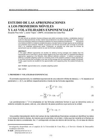 estudio de las aproximaciones a los promedios móviles y las ...