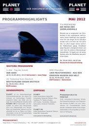 ProGrammHiGHliGHts mai 2012 - Planet