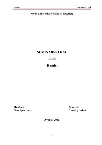 Hamlet - Seminarski Maturski Diplomski Radovi