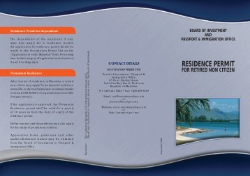 RESIDENCE PERMIT - Board of Investment
