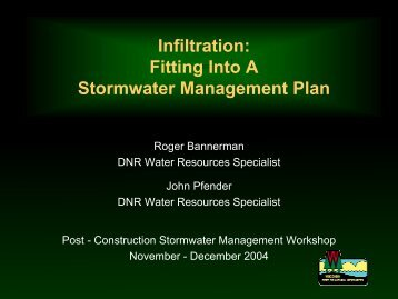 Infiltration: Fitting Into A Stormwater Management Plan - Wisconsin ...
