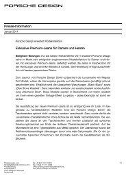 Presse-Information Exklusive Premium-Jeans für ... - Porsche Design