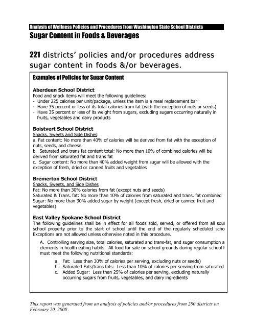 Nutrition Standards for Sugar in Foods (PDF)