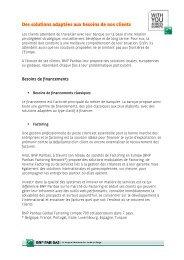 Des solutions adaptes aux besoins de nos clients - BNP Paribas