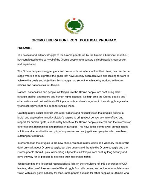 oromo liberation front political program - Ethiopia: A voice for the