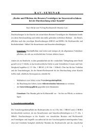 K A V – S E M I N A R - Kölner Anwaltverein