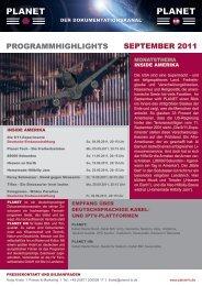 ProGrammHiGHliGHts sePtember 2011 - Planet