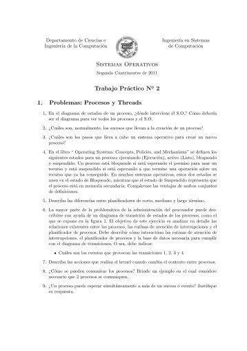 Sistemas Operativos Trabajo Práctico No 1. Problemas: Procesos y ...