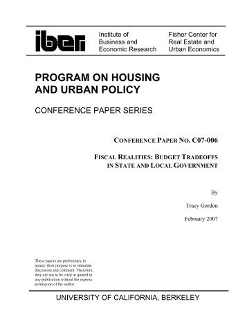 Fiscal Realities - Berkeley Program on Housing and Urban Policy ...