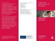 Brochure (PDF) - Institute for Mathematics & Education - University ...
