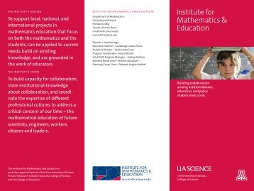 Brochure (PDF) - Institute for Mathematics & Education - University ...