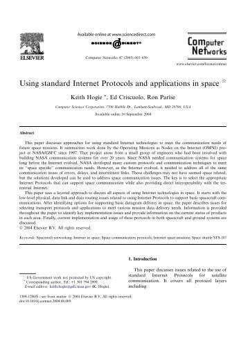 Using standard Internet Protocols and applications in space