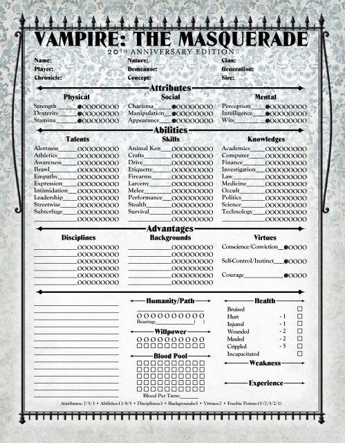 Vampire the masquerade character generator | Character Sheets and