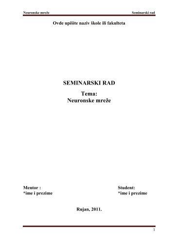 Neuronske mreže - hr - Seminarski Maturski Diplomski Radovi