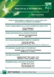 RISULTATI AL 31 DICEMBRE 2012 - BNP Paribas