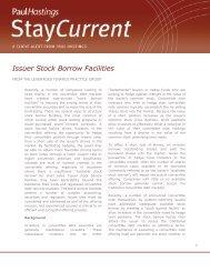 Issuer Stock Borrow Facilities - Paul Hastings