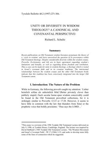 UNITY OR DIVERSITY IN WISDOM THEOLOGY? A ... - Tyndale House
