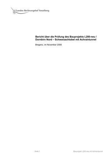 Bericht über die Prüfung des Bauprojekts L200-neu / Dornbirn Nord ...