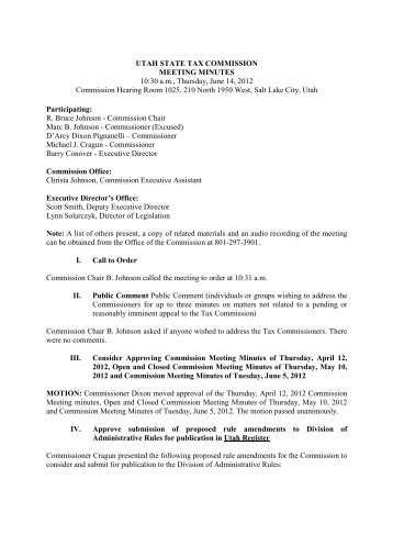 2012-06-14 Minutes Commission Meeting - Utah State Tax ...