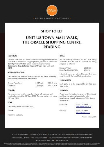 shop to let unit u8 town mall walk, the oracle shopping centre, reading