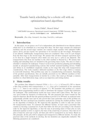 Transfer batch scheduling for a robotic cell with an optimization ...