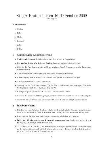 StugA-Protokoll vom 16. Dezember 2009