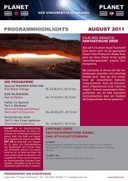 ProGrammHiGHliGHts auGust 2011 - Planet