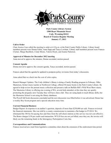 January 2013 Board Meeting Minutes - Park County Library System