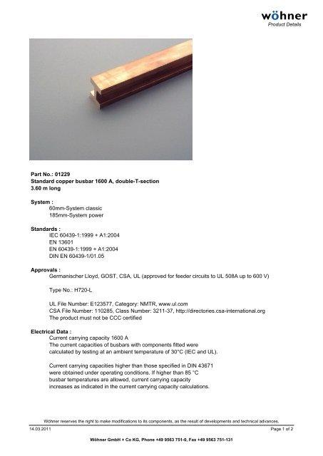 Part No : 01229 Standard copper busbar 1600 A, double-T