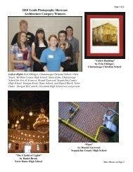 2010 Youth Photography Showcase Architecture Category Winners