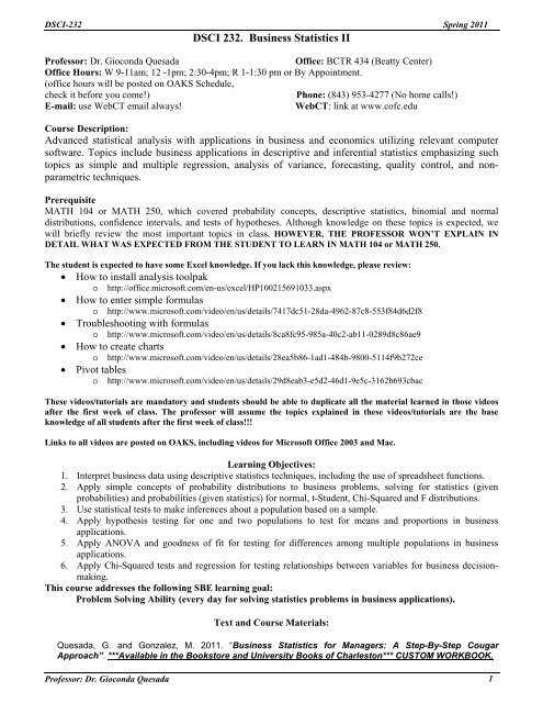 DSCI 232  Business Statistics II - School of Business