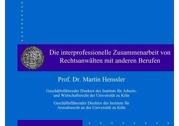 Die interprofessionelle Zusammenarbeit von Rechtsanwälten mit ...