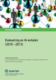 Evaluering av IA-avtalen (2010 – 2013) - SINTEF