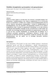 Mobilitet, Kompleksitet og dynamiske web ... - Trafikdage.dk